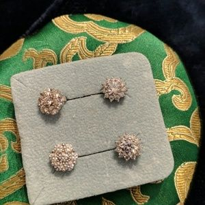 Lot of 2 Pairs Silver Tone CZ Earrings